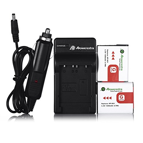 NP-BG1 Powerextra 2 Pack Battery with Charger for Sony NP-BG1 Type G Battery and Cyber-Shot DSC-H3 DSC-H7 DSC-H9 DSC-H10 DSC-H20 DSC-H50 DSC-H55 DSC-H70 DSC-H90 DSC-HX5V DSC-HX7V DSC-HX9V DSC-HX10V