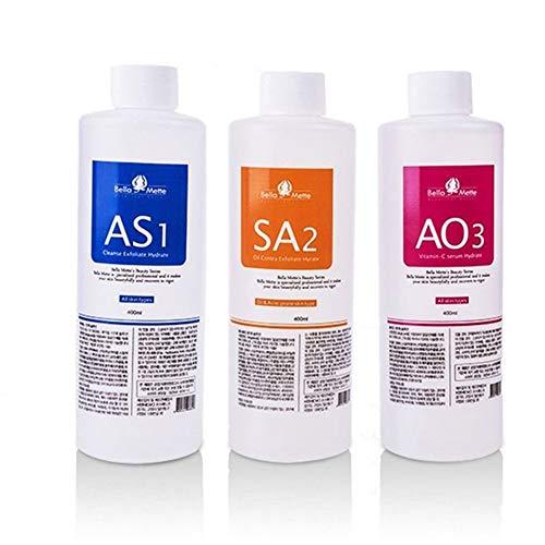 Premium Salon Professional Dermabrasion Facial Special Solutions Skin Care Aqua Peeling Serum Facial Cleaning Liquid For Hydra Facial Dermabrasion Machine 400ml (3 Bottles)