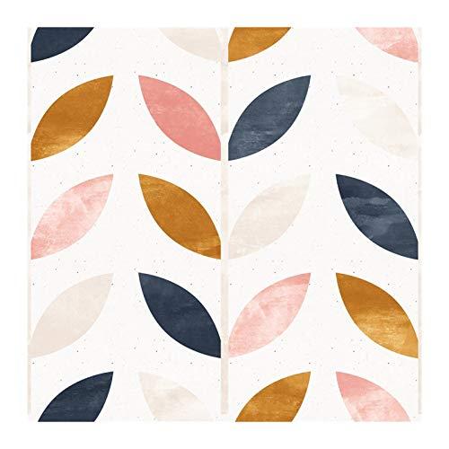 W-L Pelada de Hoja y Palanca de Pantalla extraíble Beige/marrón/Rosa/Azul Marino Papel de Contacto Autoadhesivo de Vinilo Azul para homedecorativo (Color : Colourful Leaf, Size : 3mx45cm)