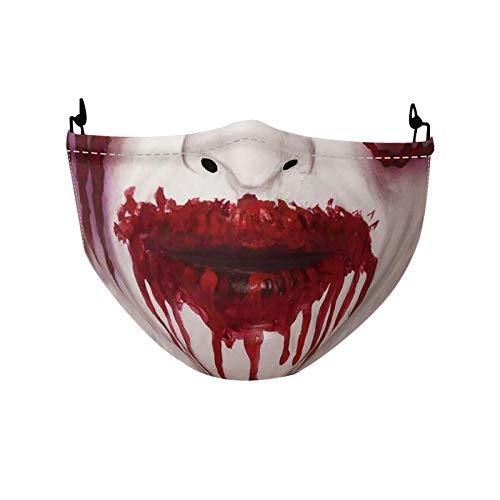 Hanomes Halloween_Mundschutz Waschbar mit Joker Skull Totenkopf Blut Lippen 3D Horror Ugly Bandana Multifunktionstuch Herren Damen Mund-Nasenschutz Wiederverwendbar Motorrad Halstuch