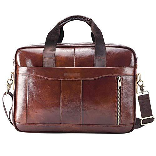 BSDK leren handtas, 14 inch (14 inch) manaktenkoffer laptop messenger bag werken schouder-schoudertas voor mannen kantoorhandtote