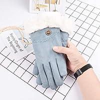 手袋の秋と冬の女性かわいい学生暖かく、ベルベットの厚い耐寒性の5本の指の手袋 (Color : 青い, Size : F)