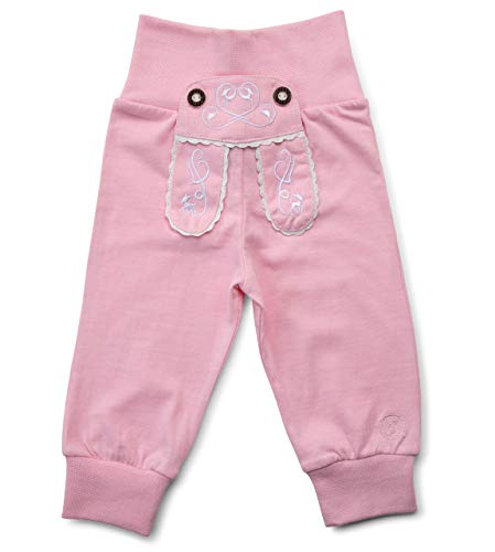 Schöneberger Trachten Couture Baby Stoffhose im Lederhosen Design – Babyhose mit elastischem Bund – Mädchen Pumphose Kinderhose REH (50/56, Rosa)