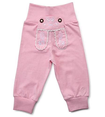 Schöneberger Trachten Couture Baby Stoffhose im Lederhosen Design – Babyhose mit elastischem Bund – Mädchen Pumphose Kinderhose REH (62/68, Rosa)
