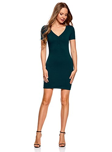 oodji Ultra Damen Enges Kleid mit V-Ausschnitt, Blau, DE 36 / EU 38 / S