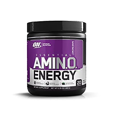 Optimum Nutrition Amino Energy - Pre Workout with Green Tea, BCAA, Amino Acids, Keto Friendly, Green Coffee Extract, Energy Powder - Concord Grape, 20 Servings