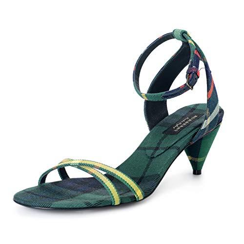 BURBERRY London Women's Canvas Check Ankle Strap Heeled Sandals Shoes Sz US 5.5 IT 35.5