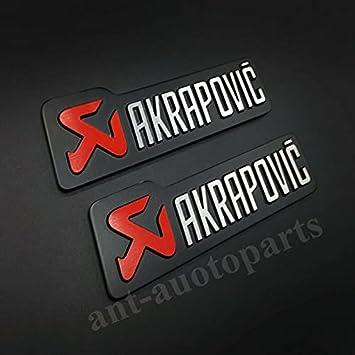 AOWIFT 2 pegatinas de metal AKRAPOVIC de escape resistente al calor para auto emblema