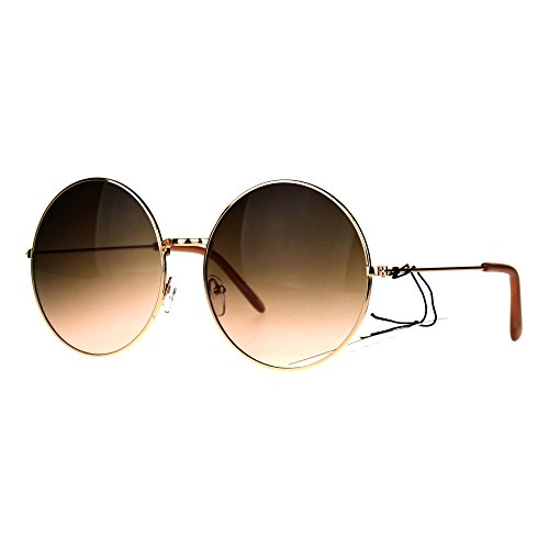 Classic Oversize Joplin Style Hippie Round Circle Lens Sunglasses Gold Brown Peach