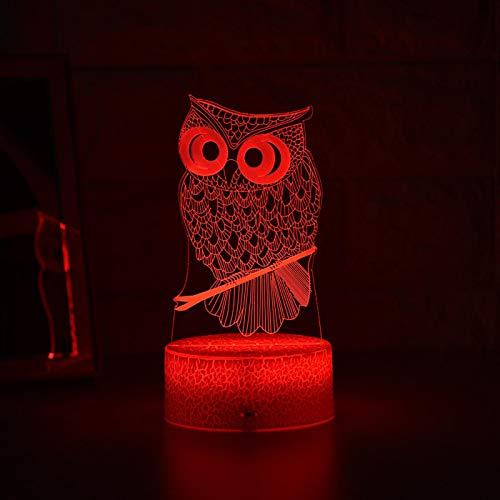 ZGBB Más nuevo niño luz noche 3D LED noche luz creativa mesa mesita lámpara romántica búho luz niños decoración del hogar regalos 7colornoremote