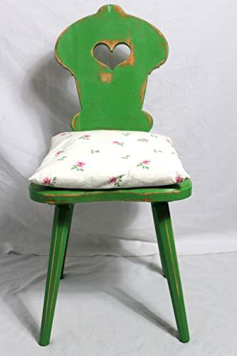 Shabby Stuhl alter Bauernstuhl/Holzstuhl/Stuhl mit Herz dunkel grün 40er Jahre Vintage Möbel Shabby Chic Möbel Landhaus Country