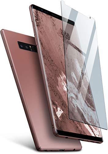 moex Hardcase kompatibel mit Samsung Galaxy Note8 - Hülle Ultra dünn mit Panzerglas Schutzfolie, Slim Hülle Handyhülle beidseitig, matt Rosegold
