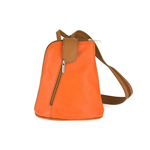 OBC Damen echt Leder Rucksack Schultertasche Stadtrucksack Backpack Handtasche Organizer Daypack Tablet bis ca. 8 Zoll Leder 22x23x12 Orange
