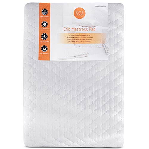 puredown Waterproof Quilted Crib Mattress Protector with Clover Pattern for Baby Fitted White Set of 2