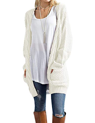 OmicGot Women's Open Front Long Sleeve Novelty Sweaters Chunky Knit Cardigan Sweater White L