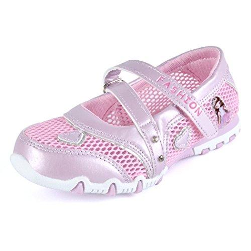 Kinder Mädchen Sandalen Geschlossen Mesh Schuhe Rutschfest Atmungsaktiv Prinzessin Flach Kinderschuhe Frühling Sommer, Rosa, 25 EU