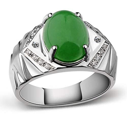 RXSHOUSH Anillo para hombre, plata S925 verde calcedonia anillo de compromiso regalo novio moda anillo de tendencia, 23#