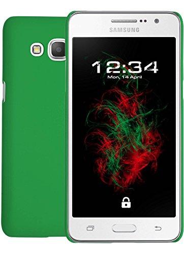 Baluum Hardcase gummierte grüne Hülle für Samsung Galaxy Grand Prime Plus Schutzhülle Hülle Cover Handyhülle Backcover Hartschale aus robusten Kunststoff