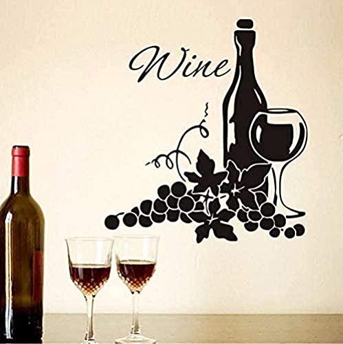 KBIASD Dos racimos de uvas y botella de vino DIY vinilo cocina decoración del hogar para sala de estar arte pared calcomanía Mural 44X48Cm