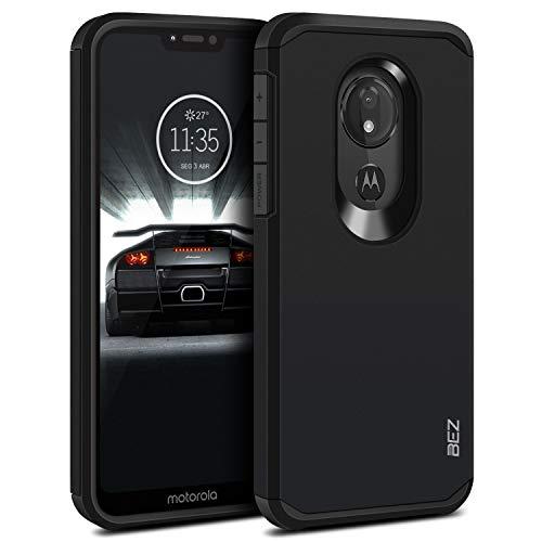 BEZ Hülle für Moto G7 Power Hülle, Handyhülle Stoßfestes Kompatibel für Motorola Moto G7 Power, [Heavy Duty Serie] Outdoor Dual Layer Armor Hülle Handy Schutzhülle Robuste, Schwarz