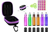 Premium 6 Pack 5ML Roller Bottles With 1X Essential Oil Carrying Case Perfects For Purse Travel 1PCS Opener Key Tool Some Blank lables (Purple)
