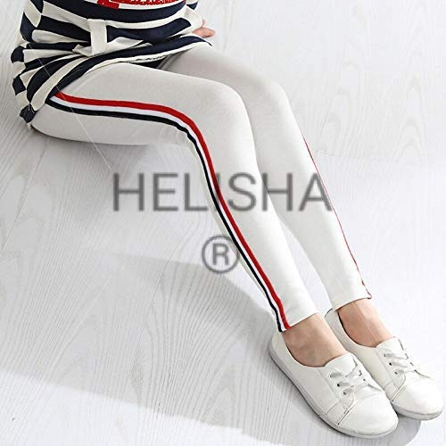 HELISHA® Gym Wear Leggins Yoga Gym Dance Workout and Active Sports Fitness Side Striped Leggings Tights for Girls & Women (Free-Size) (White-Color Side-Strip)