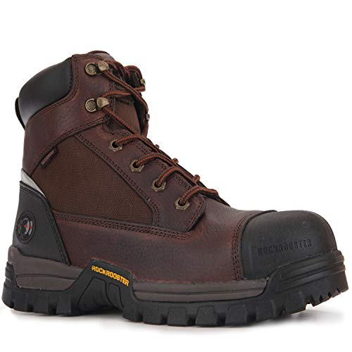 ROCKROOSTER Men's Work Boots, 6' Composite Toe, Non-Slip Rubber Safety Shoes, Hydroguard Waterproof Leather Boot, Kevlar Puncture Resistant, EH (AT872, 8.5)