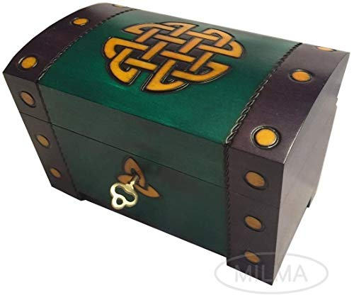 Celtic Gold Knots Chest Box Polish Handmade Wood Keepsake w/ Lock & Key