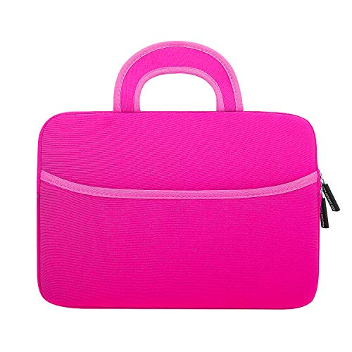 MoKo Sleeve Hülle Kompatibel mit 7-8 Zoll Amazon Tablet, Portable Neoprene Tasche für Fire HD 8 Kids Edition 2018/2017, Fire 7 Kids Edition, Fire HD 8 Plus/Fire HD 8 2020, Fire 7 - Magenta