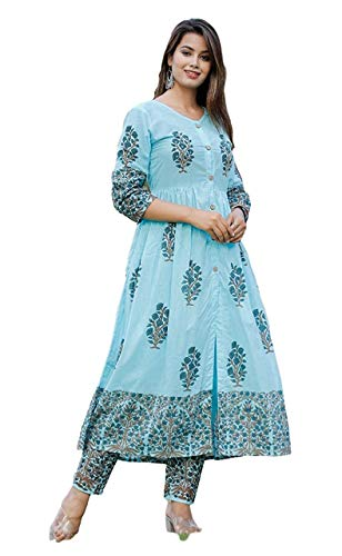 GoSriKi Women's cotton anarkali Kurta (VANITA NAVY_XL_Sky Blue