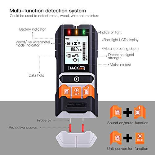 Detector de Pared, TACKLIFE-DMS05-Detectores de Metal, Madera y AC Cable, Probador de...