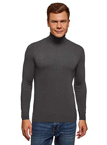 oodji Ultra Herren Rollkragenpullover Basic aus Baumwolle, Grau, DE 50 / M