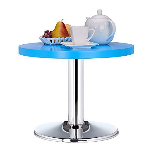 Relaxdays Tavolino da Salotto Rotondo, Decorativo, per Bambini, Blu, Legno MDF, HxD: 41 x 50 cm
