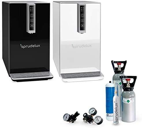 SPRUDELUX Auftisch-Tafelwasseranlage Black & White Diamond HOT Edition Inkl. Filtereinheit. Profi-Wassersprudler für den Privathaushalt. Spritziges Mineralwasser (Schwarz, Mit 6 Kg CO2 Flasche)