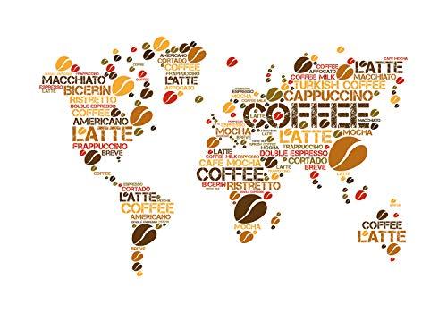 wandmotiv24 Fototapete Weltkarte Kaffee Küche, S 200 x 140cm - 4 Teile, Fototapeten, Wandbild, Motivtapeten, Vlies-Tapeten, Kaffeebohnen Weltatlas M6155