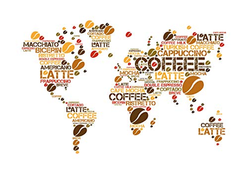 wandmotiv24 Fototapete Weltkarte Kaffee Küche, XL 350 x 245 cm - 7 Teile, Fototapeten, Wandbild, Motivtapeten, Vlies-Tapeten, Kaffeebohnen Weltatlas M6155