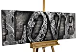 KunstLoft Extravagantes Metallbild 3D 'More Than Letters' 150x50x6cm   Design Wanddeko XXL handgefertigt   Unikat Luxus Wandskulptur   Love Liebe Wort Grau   Wandbild Relief modern