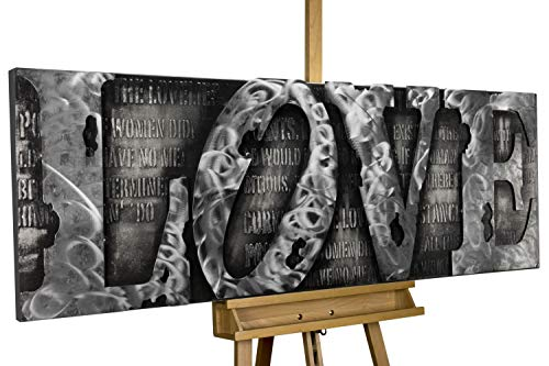 KunstLoft Extravagantes Metallbild 3D 'More Than Letters' 150x50x6cm | Design Wanddeko XXL handgefertigt | Unikat Luxus Wandskulptur | Love Liebe Wort Grau | Wandbild Relief modern