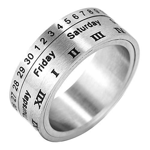 Stilvolle Einfachheit Herren Silber Schwarz Edelstahl Kalender Römische Ziffern Spinner Ringe, Größe V, LQS, r