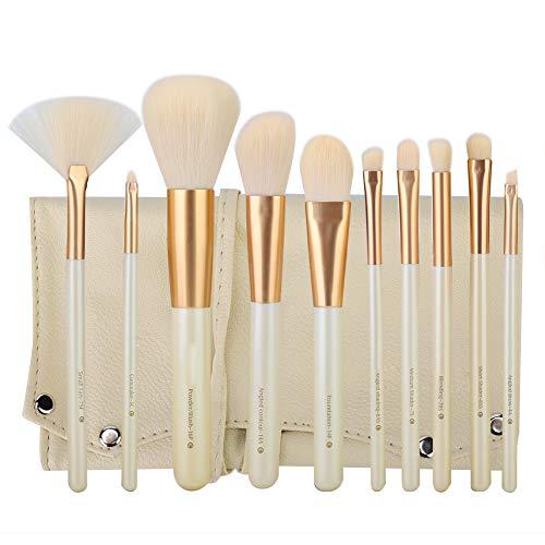 10 pcs Cosmétique Maquillage Brosse Ensemble, Perle Blanc Portable Maquillage Professionnel Mélange Brosses Ensemble avec Sac De Rangement Cadeaux pour Filles Femmes