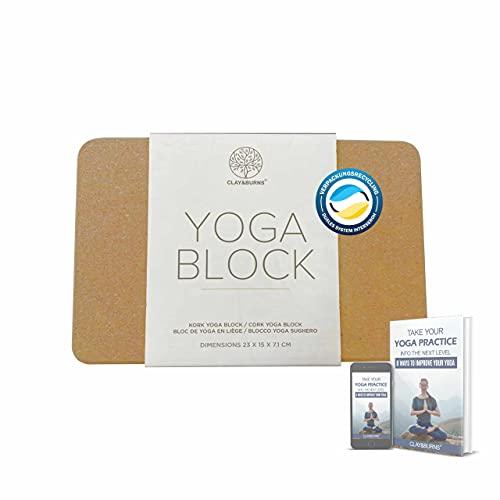CLAY&BURNS® Yogablock aus Natur Kork   Yoga Block Kork   Yogaklotz Kork  100% Naturkork   Korkblock für Yoga, Pilates und Fitness   Hatha Korkklotz