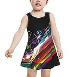 HTRBUOH Rainbow Music Note Toddler Girls One Piece Swimsuit Quick Dry Swim Dress Swimwear Bathing Suit 4t
