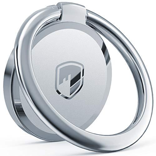 FITFORT Handy Ring Smartphone Fingerhalterung 360 ° Drehbar Ring Halterung Metallring-Griff für Magnetische Autohalterung,Kompatibel mit Allen Smartphones Silber