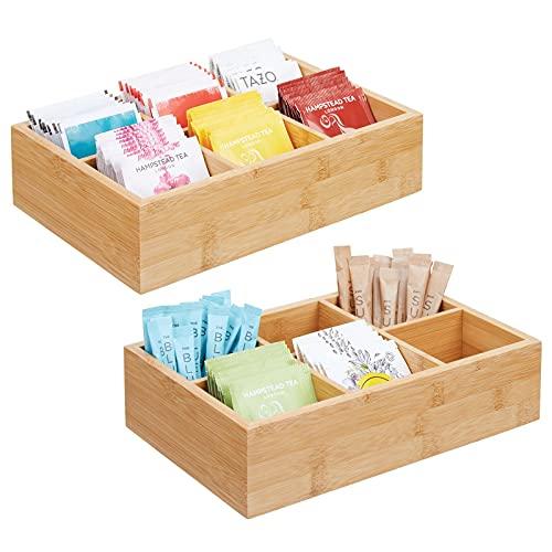 mDesign Juego de 2 cajas organizadoras para bolsitas de té, especias, azúcar, etc. – Compacto cajón de madera para la cocina – Caja para infusiones de madera con 6 compartimentos – color natural