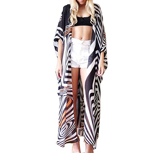 Biofieay Damen Kimono Cardigan Strandkleid Boho Bikini Cover Up Chiffon Lang Poncho Lose Maxikleid