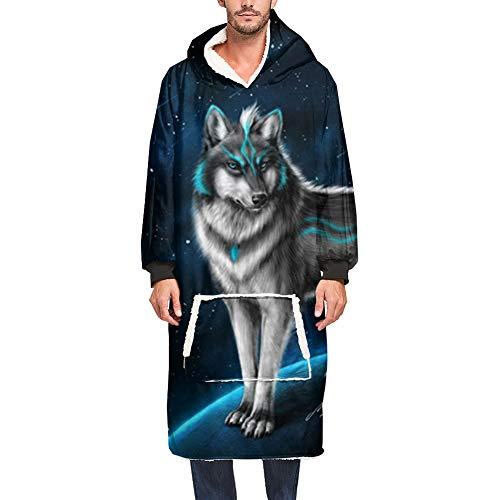 Ouduo Sherpa Hoodie Sudadera Manta, 3D Lobo Impresión Adult Hombre Mujer Mantas con Capucha con Bolsillo Frontal Grande Portátil Sudadera con Capucha Manta con Manga (One Size,Cielo Estrellado)