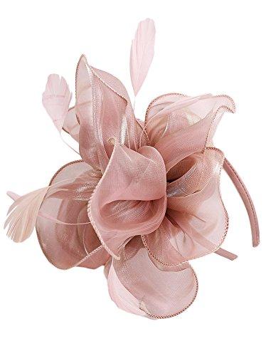 EEVASS Mujer Malla Tocado Elegante flor Fascinator Boda Headwear Sombrero (# Desnudo rosa)