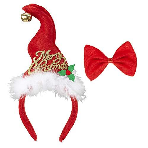 WIDMANN Mini Cappello Babbo Natale con Campanellino & Farfallino per Adulti, Multicolore, Taglia Unica, VD-WDM04159
