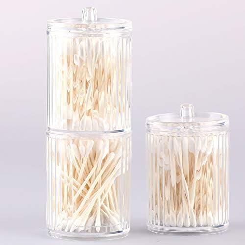 Wattenschijfjes Dispenser acryl 2Pcs wattenschijfjes Buds Zwabber Holder Container Makeopslag wissen Jar met deksel voor Badkamer Cosmetics Organizer