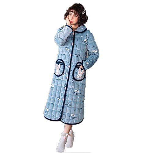 Albornoz Bata Kimono Bata Bata,Suave Albornoz para Hombres y Mujeres,Albornoz de Terciopelo y Grueso, Albornoz cálido para el hogar-Blue_XXL